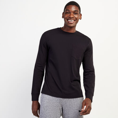 Roots-Men Long Sleeve Tops-Essential Pocket Long Sleeve Top-Black-A