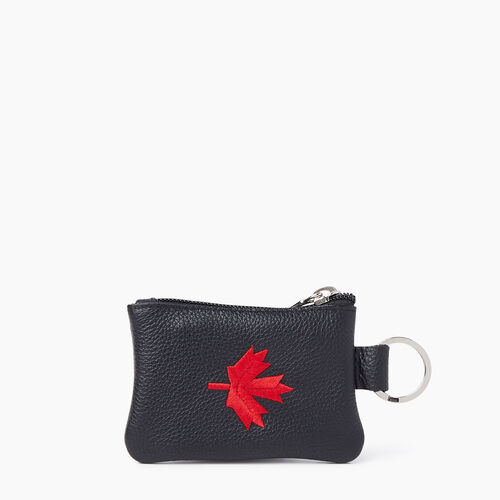 Roots-Leather Leather Accessories-Maple Leaf Top Zip Pouch Cervino-Black-A