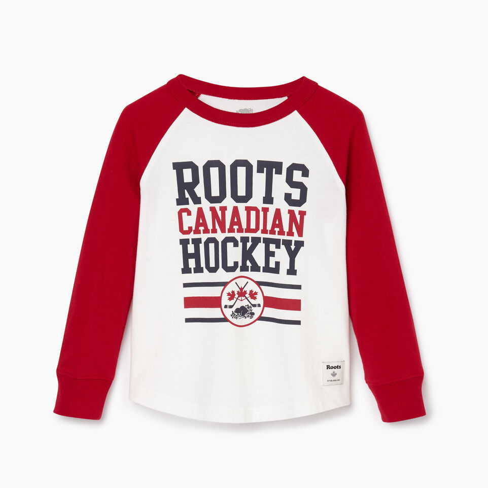 Roots-Kids Tops-Toddler Hockey Raglan T-shirt-Cabin Red-A