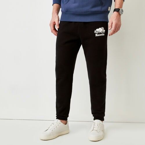 Roots-Men Slim Sweatpants-Park Slim Open Bottom Sweatpant-Black-A