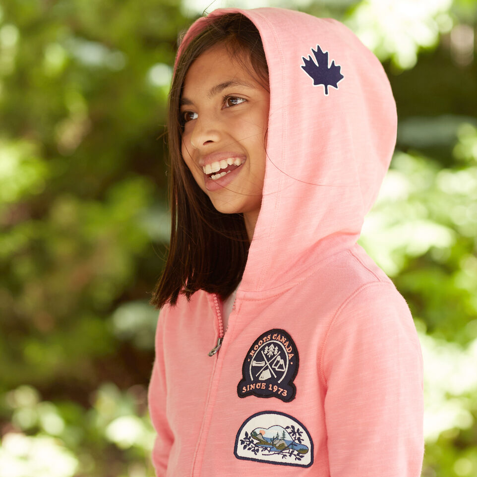 Roots-undefined-Girls Camp Patch Full Zip Hoody-undefined-D