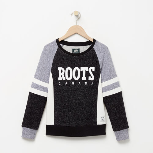 Roots-Clearance Kids-Girls Cozy Fleece Sweatshirt-Black Pepper-A