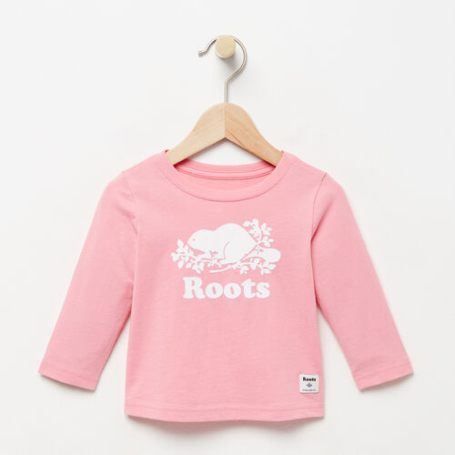 Roots-Winter Sale Baby-Baby Original Cooper Beaver T-shirt-Sea Pink-A