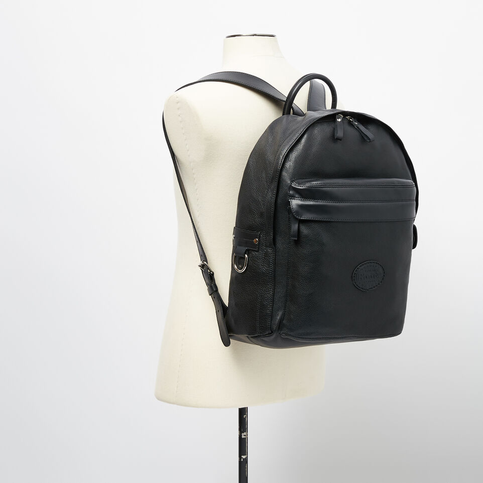 Roots-Leather Backpacks-Student Pack Prince-Black-B