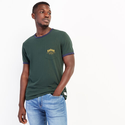 Roots-Sale Tops-Mens Rugged Ringer Pocket T-shirt-Park Green-A
