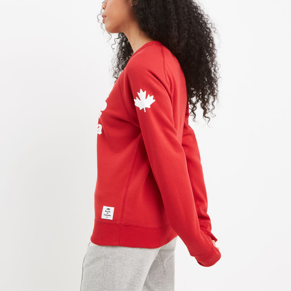 Roots-Women Canada Collection By Roots™-Womens Cooper Canada Crewneck Sweatshirt-Sage Red-B