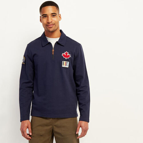 Roots-Men New Arrivals-Camp Patch Zip Polo-Navy Blazer-A