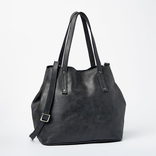Roots-Leather Totes-Amelia Tote Tribe-Jet Black-A