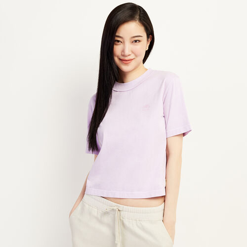 Roots-Women New Arrivals-Womens Raw Edge Neckline T-shirt-Lavender-A