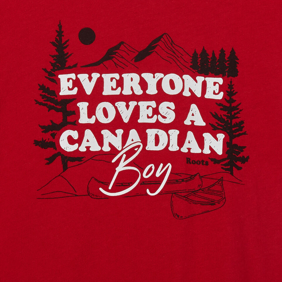Roots-Kids New Arrivals-Baby Canadian Boy Ringer T-shirt-Sage Red-C