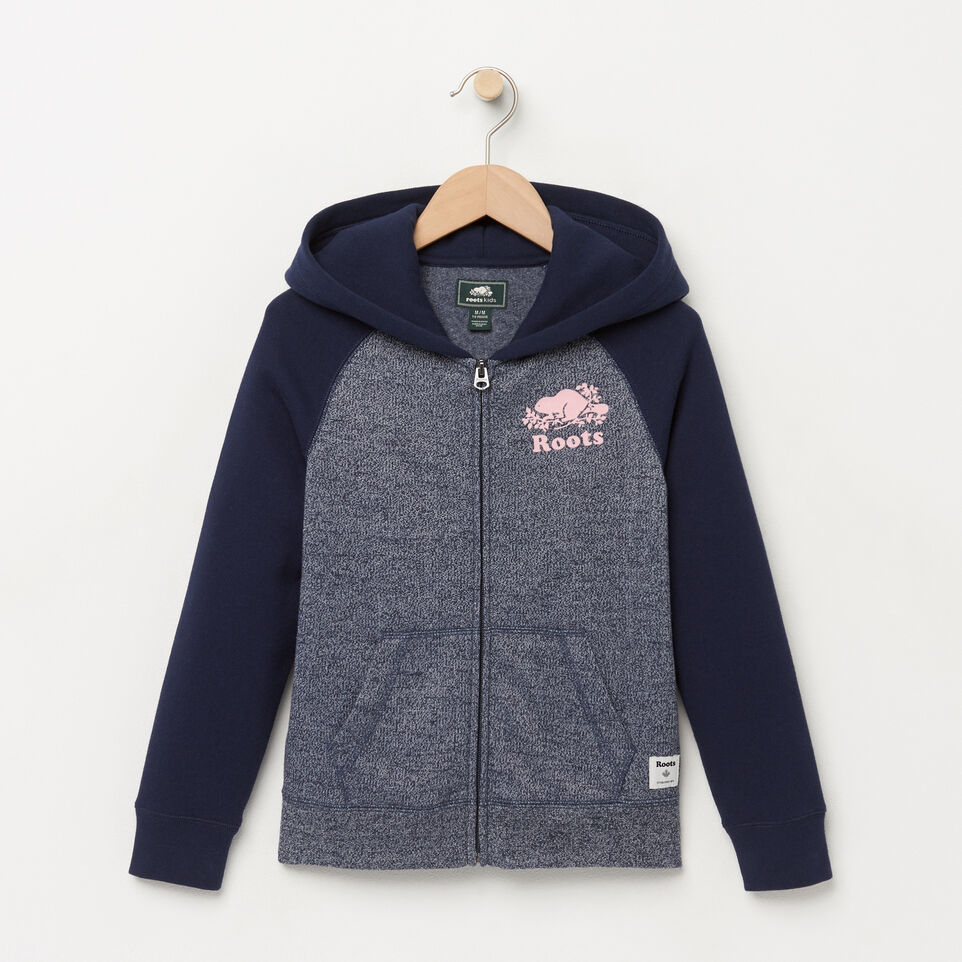 Roots-Winter Sale Kids-Girls Original Full Zip Hoody-Navy Blazer Pepper-A
