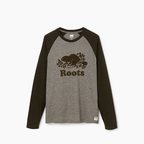 Roots-Men Graphic T-shirts-Mens Cooper Beaver Raglan Longsleeve T-shirt-Fatigue Pepper-A