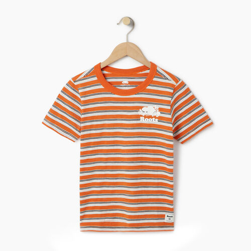 Roots-Kids Our Favourite New Arrivals-Boys Cooper Stripe T-shirt-Jaffa Orange-A