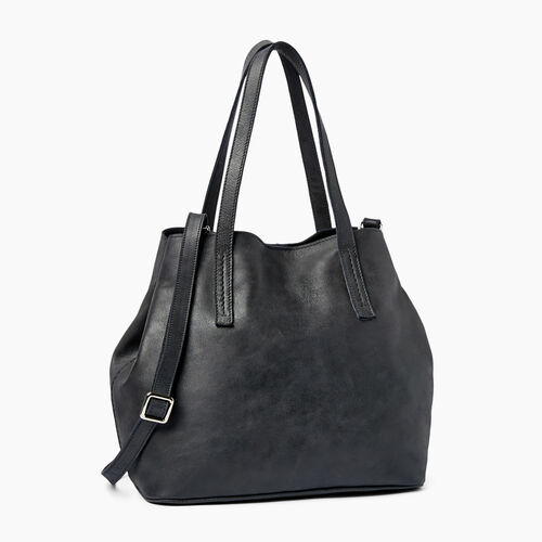 Roots-Leather  Handcrafted By Us Collections-Amelia Tote-Jet Black-A