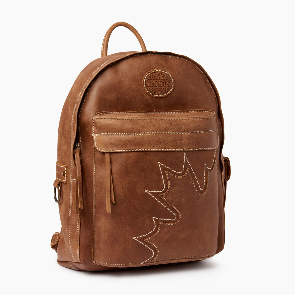 Roots-Leather Backpacks-Trans Canada Student Pack-Natural-A