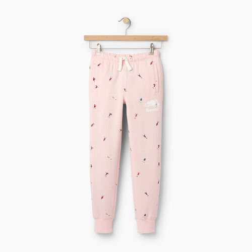 Roots-Clearance Kids-Girls Skater AOP Sweatpant-Light Pink-A