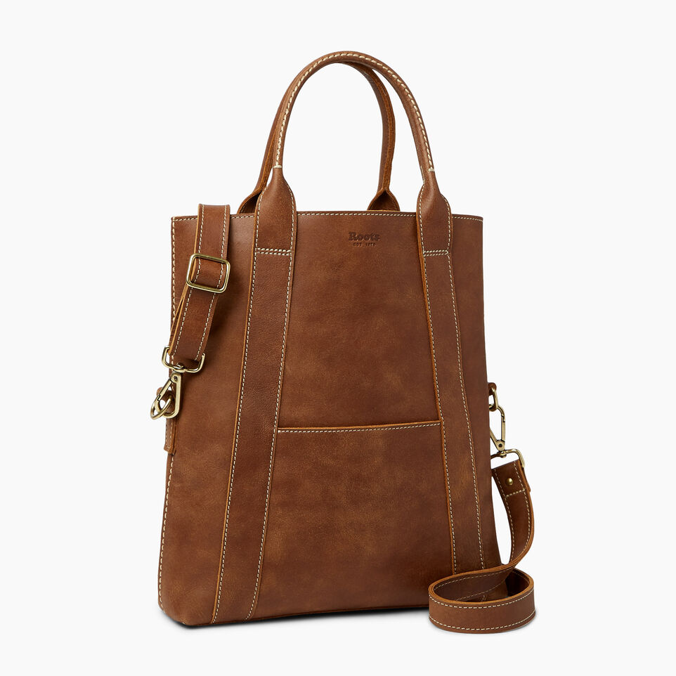 Roots-Leather  Handcrafted By Us Handbags-Annex Tote-Natural-A