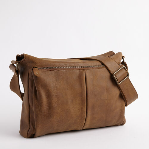 Roots-Men Briefcases & Messengers-Cargo Messenger Tribe-Natural-A