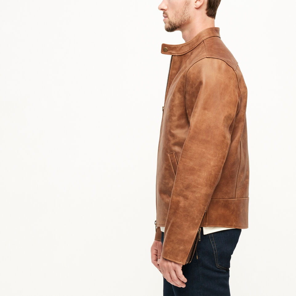 Roots-Leather Leather Jackets-Keith Jacket Tribe-Natural-C