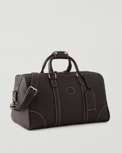 Roots-Leather Weekender Bags-Small Banff Parisian-Ébène-A