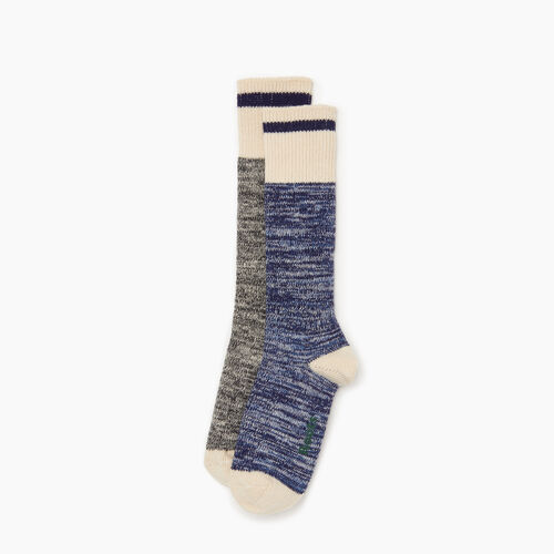 Roots-Women Accessories-Cotton Cabin Sock 2 pack-Navy-A
