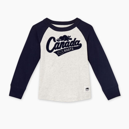 Roots-Kids Tops-Toddler Canada Raglan T-shirt-White Mix-A