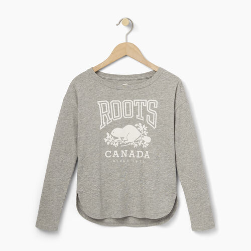 Roots-Kids Our Favourite New Arrivals-Girls Roots Classic Top-Grey Mix-A