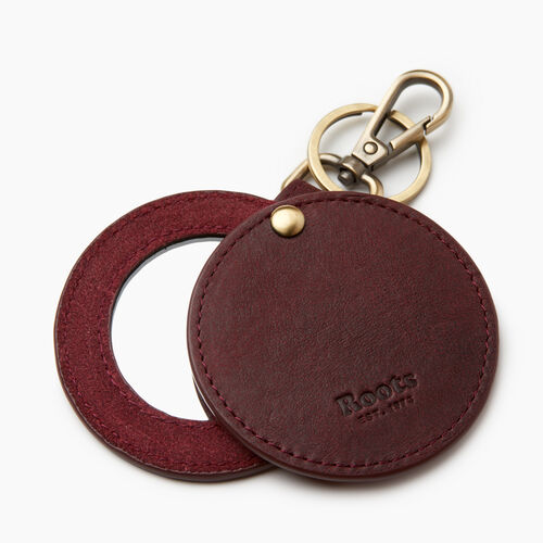 Roots-Leather Our Favourite New Arrivals-Mirror Key Ring-Crimson-A