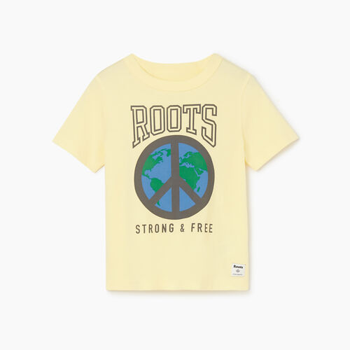 Roots-Kids Tops-Toddler Roots Raiders Peace T-shirt-Mellow Yellow-A