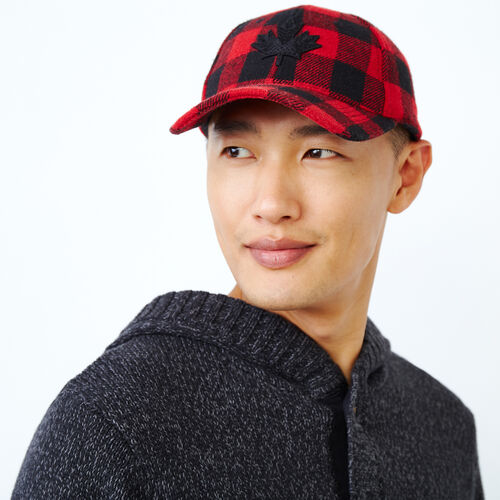 Roots-Men Our Favourite New Arrivals-Park Plaid Leaf Baseball Cap-Cabin Red-A