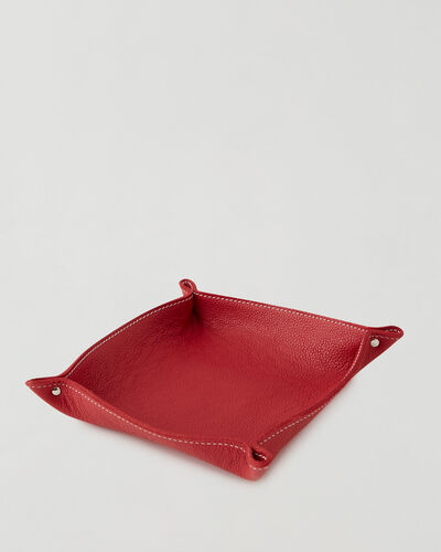 Roots-Leather Leather Accessories-Large Leather Tray Cervino-Lipstick Red-A