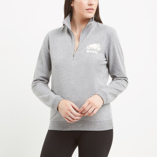 Roots-Women Sweats-Mabel Lake Zip Stein-Salt & Pepper-A