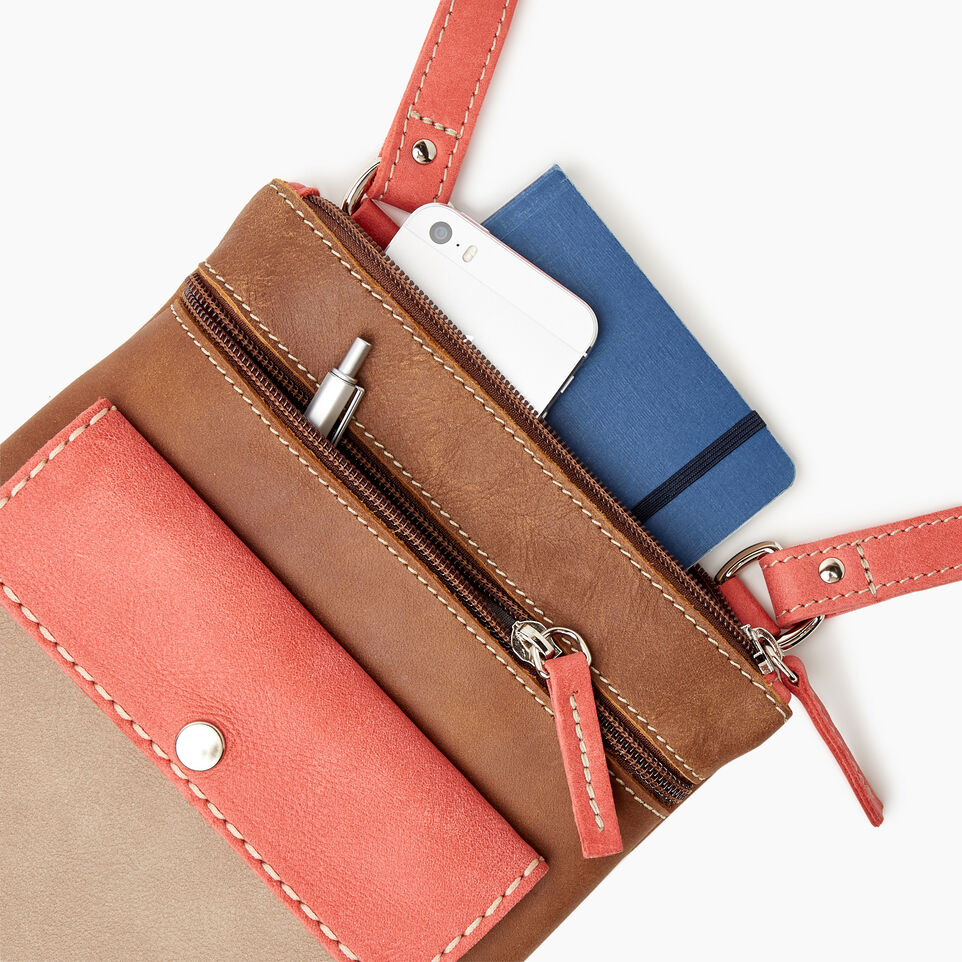 Roots-Leather  Handcrafted By Us Our Favourite New Arrivals-Liberty Pouch - Colour Block-Coral-D