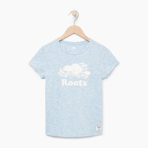 Roots-Kids Our Favourite New Arrivals-Girls Roots Space Dye T-shirt-Blue Bonnet-A