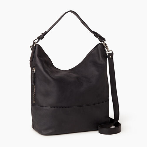 Roots-Leather  Handcrafted By Us Our Favourite New Arrivals-West End Hobo-Jet Black-A