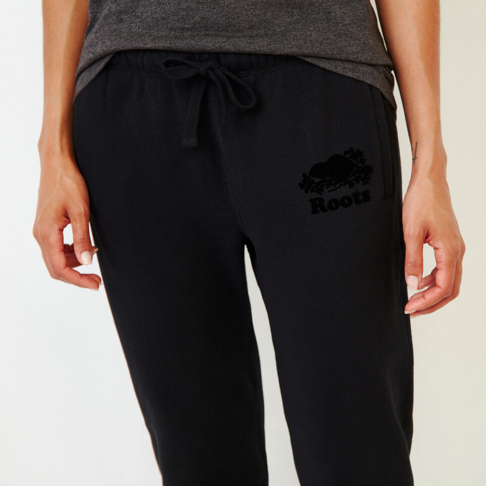 Roots-Women Categories-Original Slim Cuff Sweatpant-Black-E