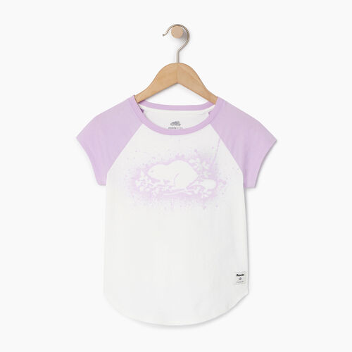 Roots-Clearance Kids-Girls Splatter Raglan T-shirt-Ivory-A