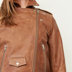 Roots-Leather Leather Jackets-Moto Jacket Tribe-Natural-E