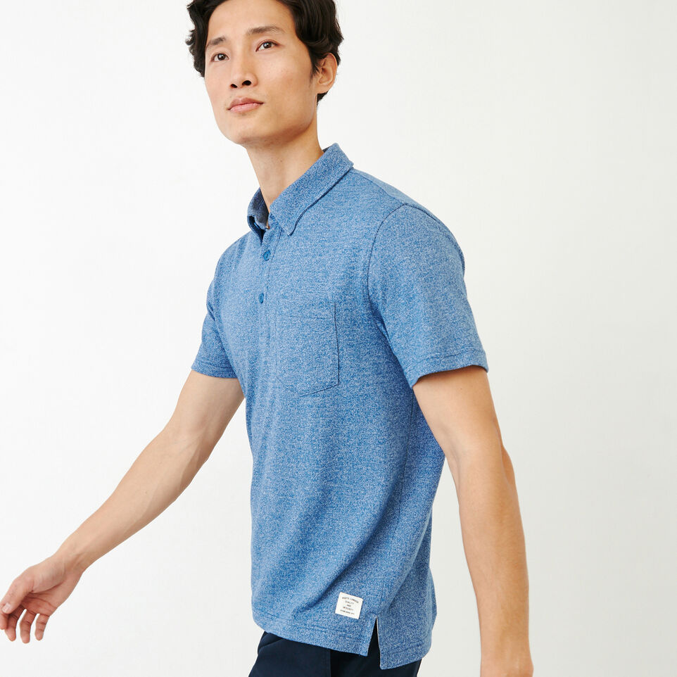 Roots-Men Our Favourite New Arrivals-Jersey Peppered Polo-Active Blue Pepper-C