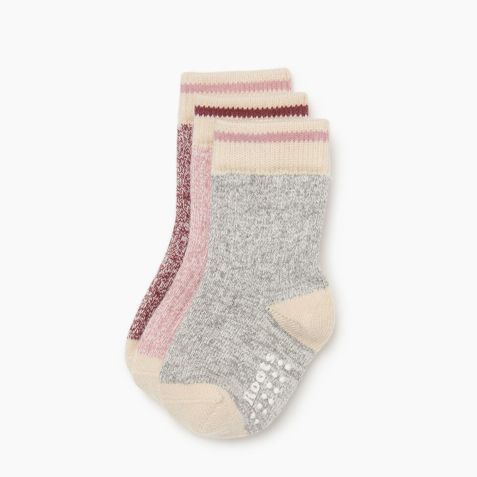 Roots-Kids New Arrivals-Toddler Cabin Sock 3 pack-Pink-B