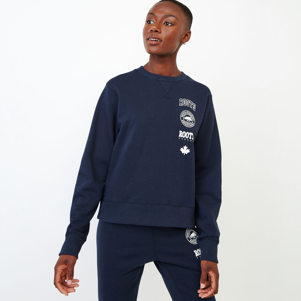 Roots-Women Our Favourite New Arrivals-Stamps Crew Sweatshirt-Navy Blazer-A