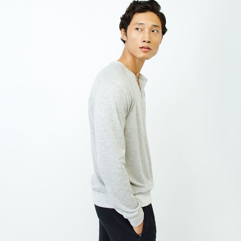 Roots-Men Our Favourite New Arrivals-Cozy Thermal Henley-Grey Mix Pepper-C