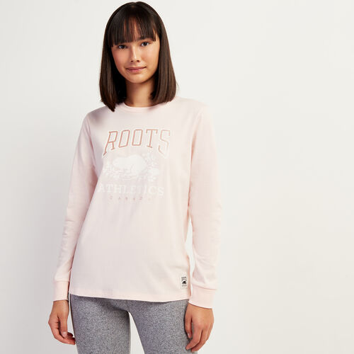 Roots-Women Graphic T-shirts-Womens RBA Long Sleeve T-shirt-Crystal Pink-A