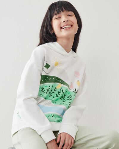 Roots-Kids Tops-Girls Meadow Print Hoody-Egret-A