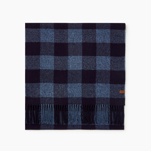 Roots-Men New Arrivals-Roots Park Plaid Scarf-Navy Pepper-A