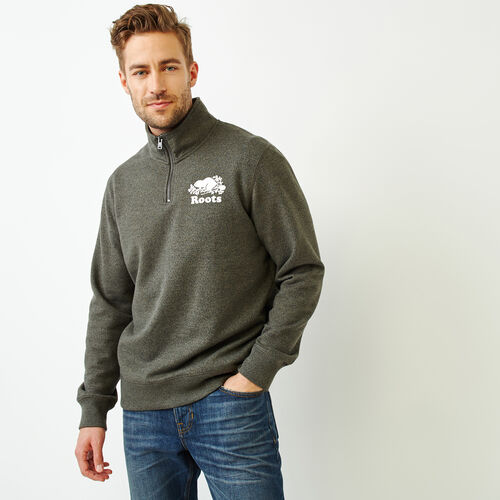 Roots-Men Sweatshirts & Hoodies-Cooper Beaver Zip Stein-Loden Pepper-A