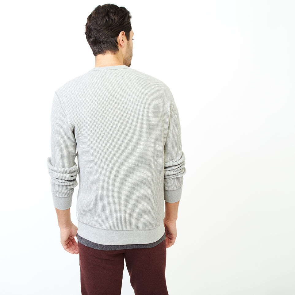 Roots-Men Our Favourite New Arrivals-Deep Cove Waffle Crew Top-Grey Mix-D