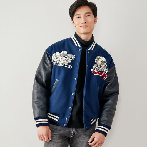 Roots-Men New Arrivals-Beaver Hockey Award Jacket-Navy-A