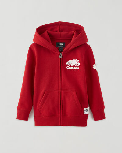 Roots-Kids Tops-Toddler Canada Full Zip Hoody-Sage Red-A