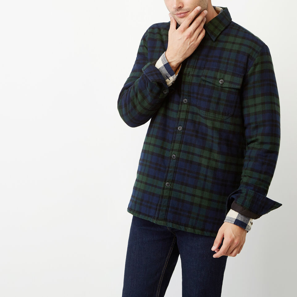 Roots-Winter Sale Men-Ossington Quilted Flannel Shirt-Green Gables-A